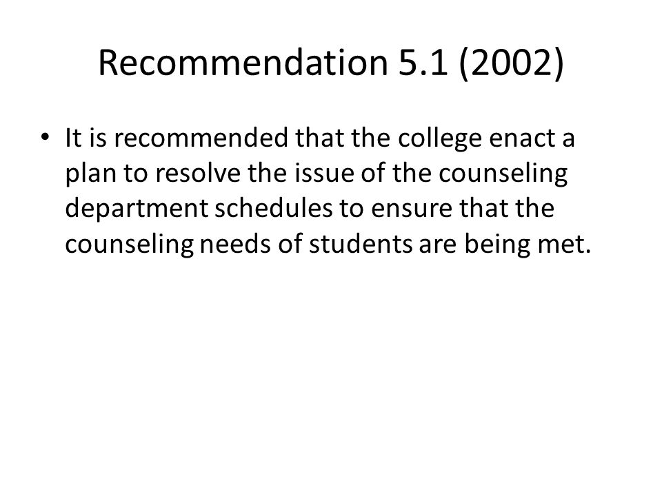 Recommendation 5.1 (2002)