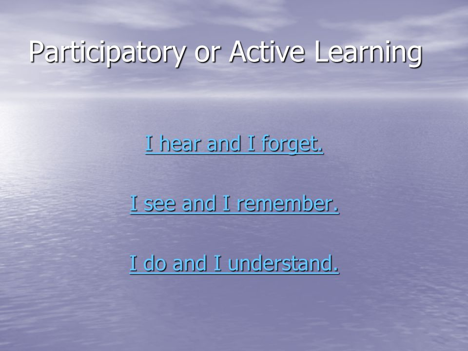 Participatory or Active Learning