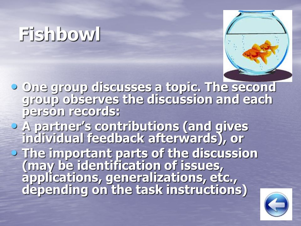 Fishbowl One group discusses a topic. The second group observes the discussion and each person records:
