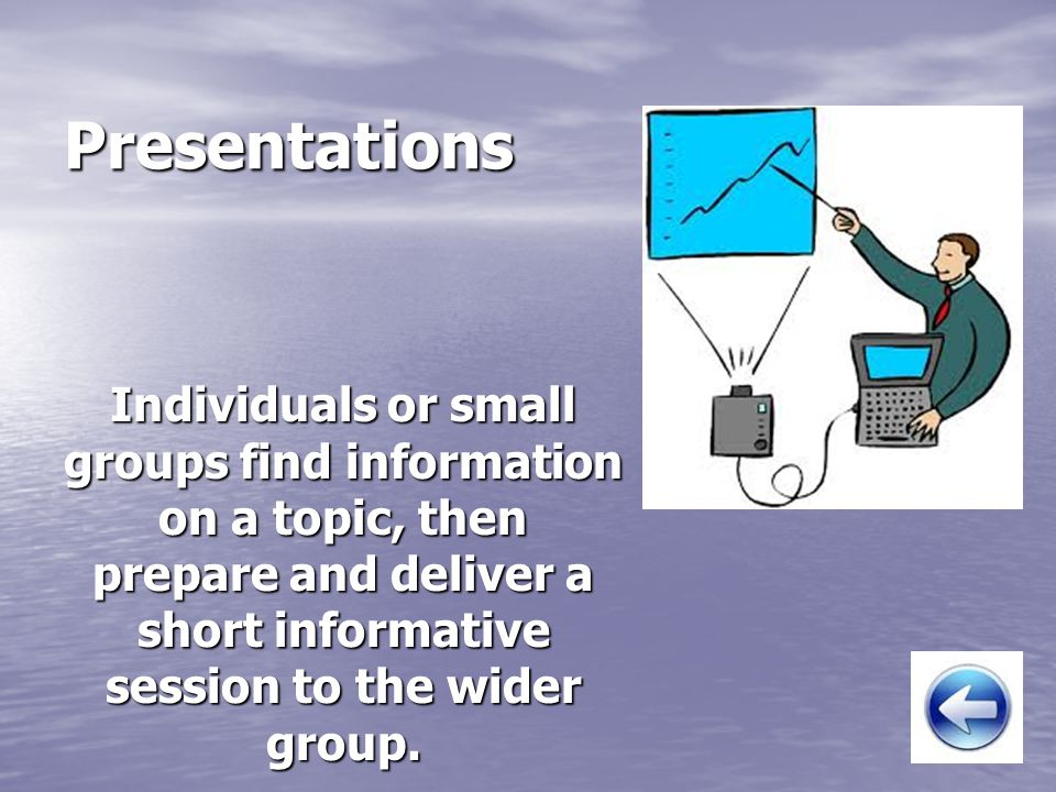 Presentations Individuals or small groups find information on a topic, then prepare and deliver a short informative session to the wider group.