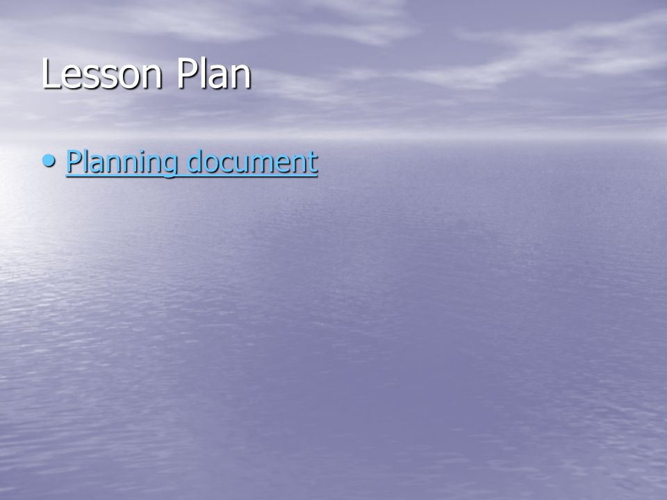 Lesson Plan Planning document
