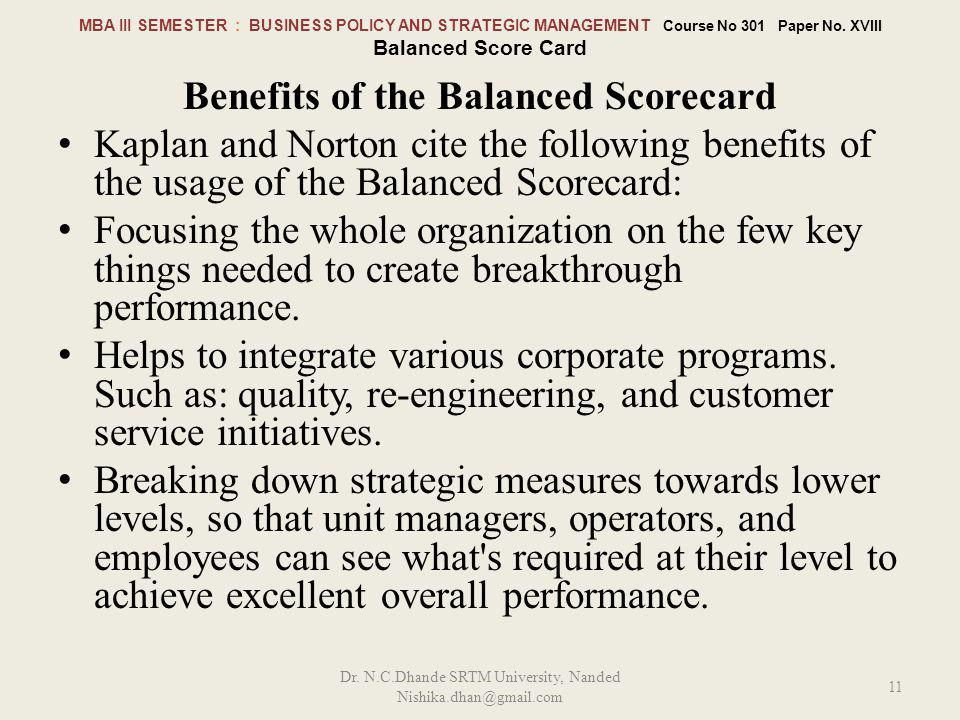 Benefits of the Balanced Scorecard