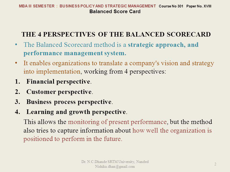 The 4 perspectives of the Balanced Scorecard