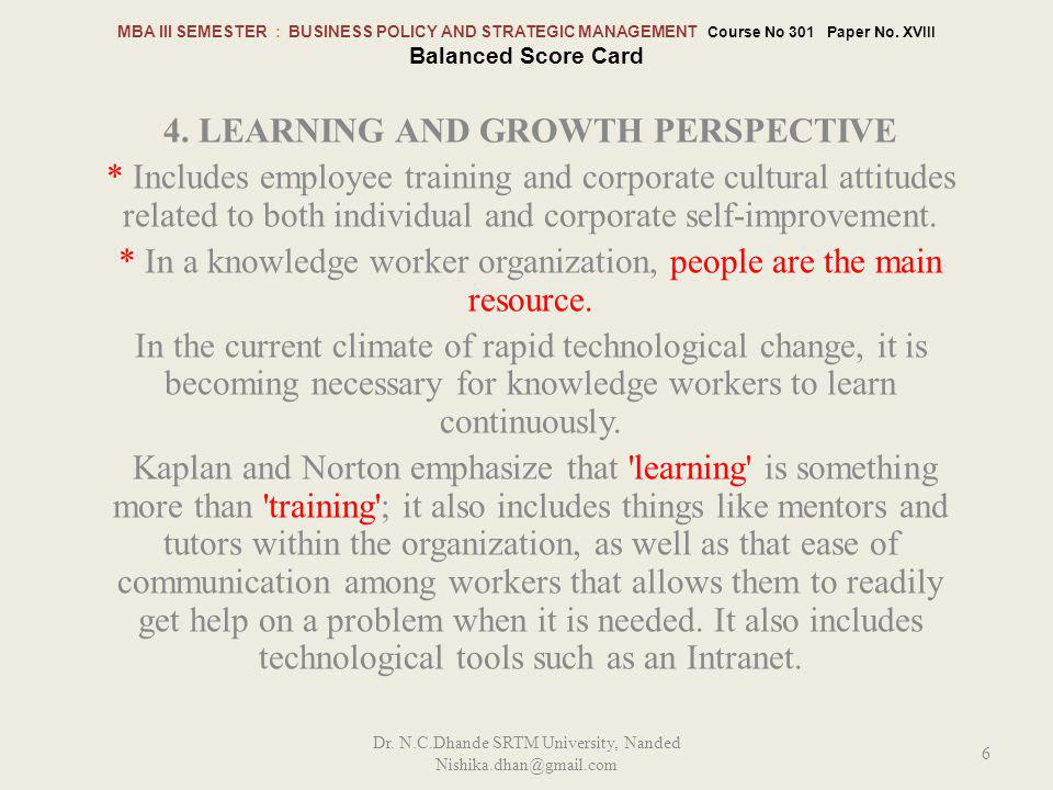 4. Learning and Growth perspective