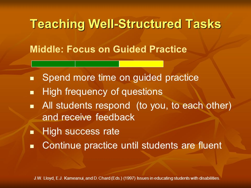 Teaching Well-Structured Tasks