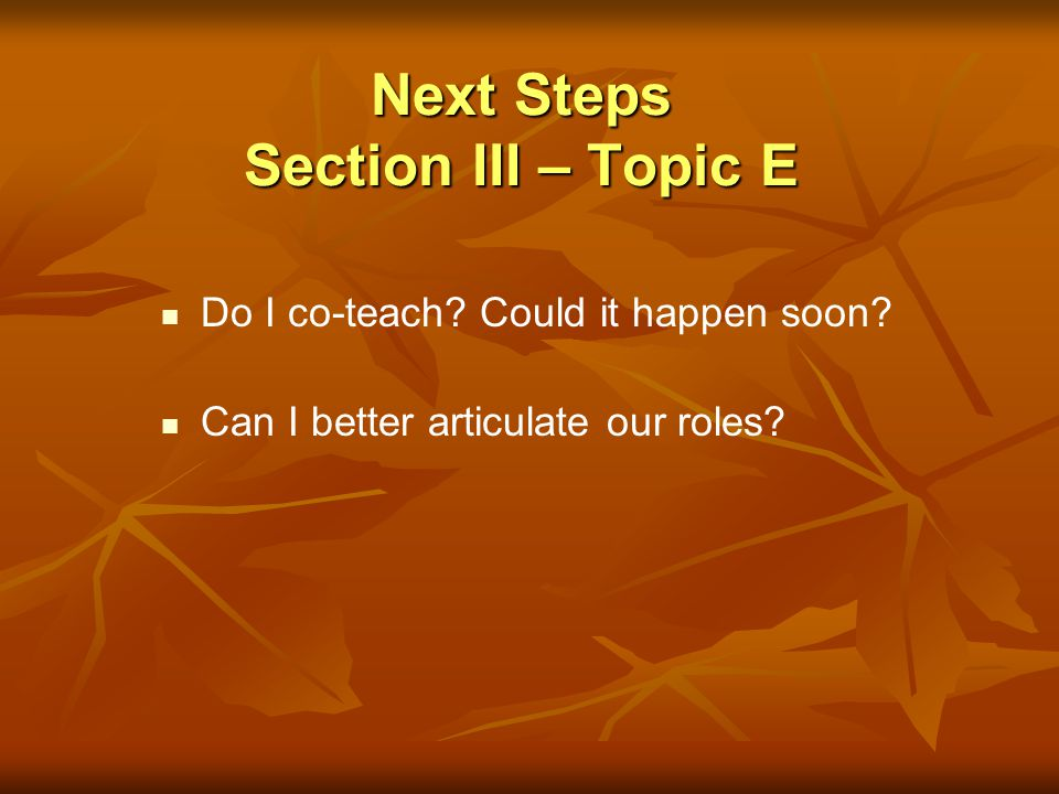 Next Steps Section III – Topic E