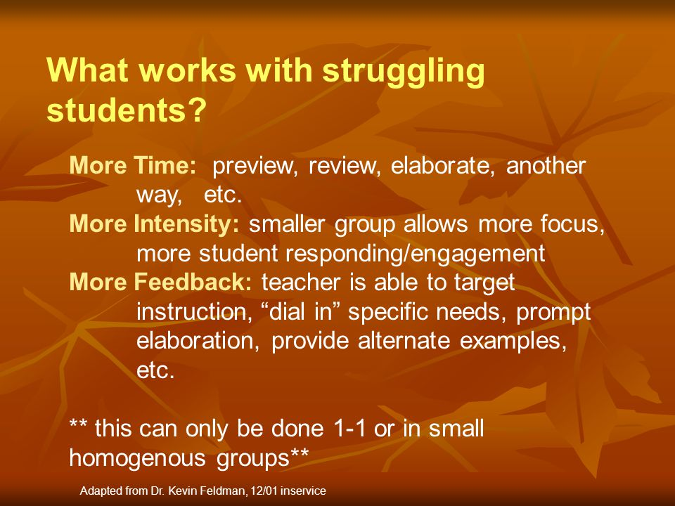 What works with struggling students