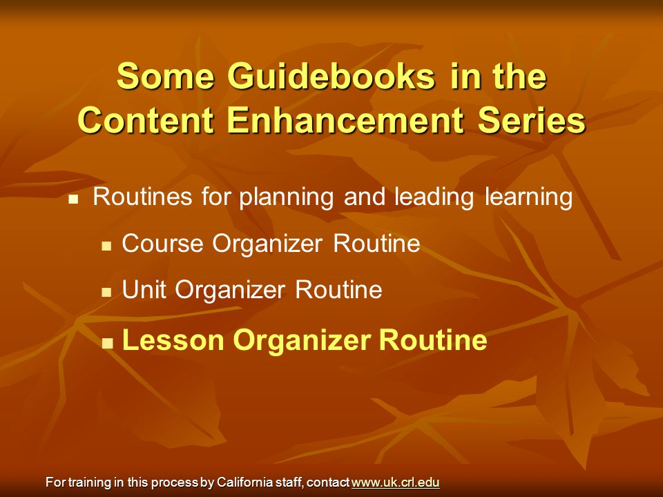 Some Guidebooks in the Content Enhancement Series