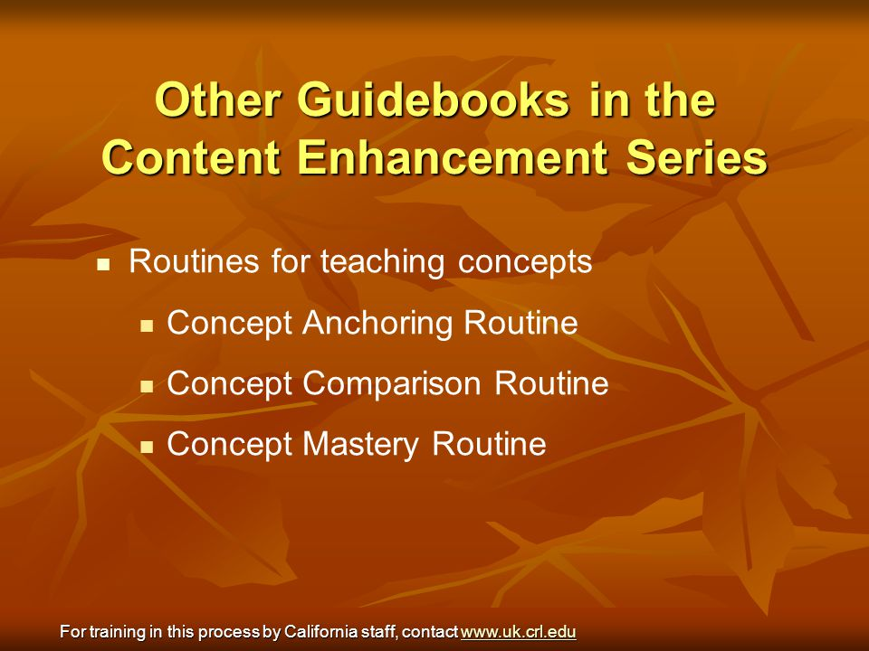 Other Guidebooks in the Content Enhancement Series