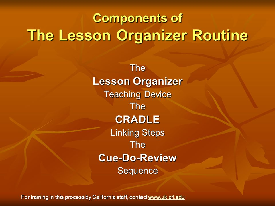 Components of The Lesson Organizer Routine