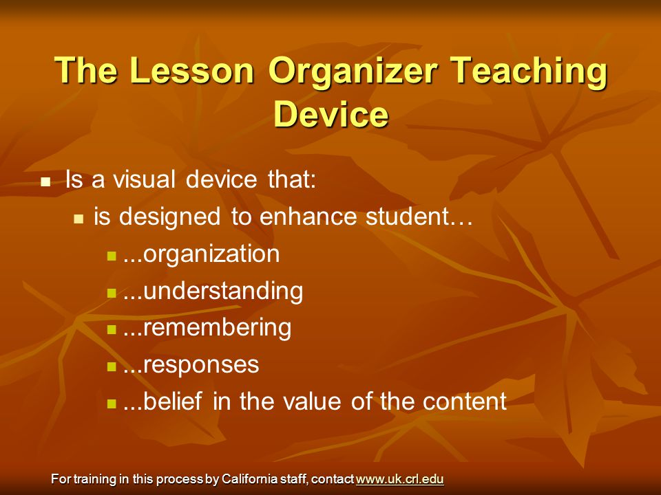 The Lesson Organizer Teaching Device