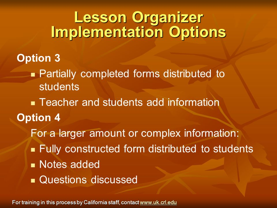 Lesson Organizer Implementation Options
