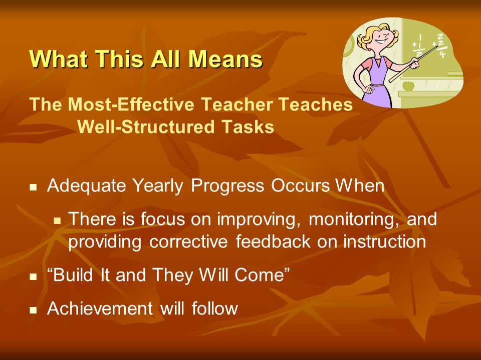 What This All Means The Most-Effective Teacher Teaches Well-Structured Tasks. Adequate Yearly Progress Occurs When.