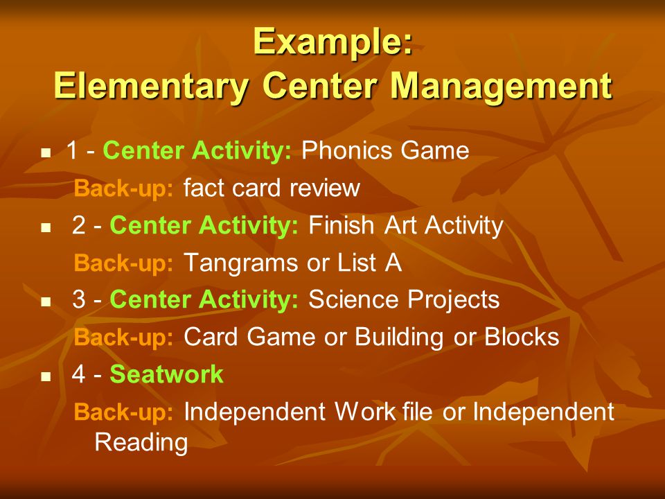 Example: Elementary Center Management