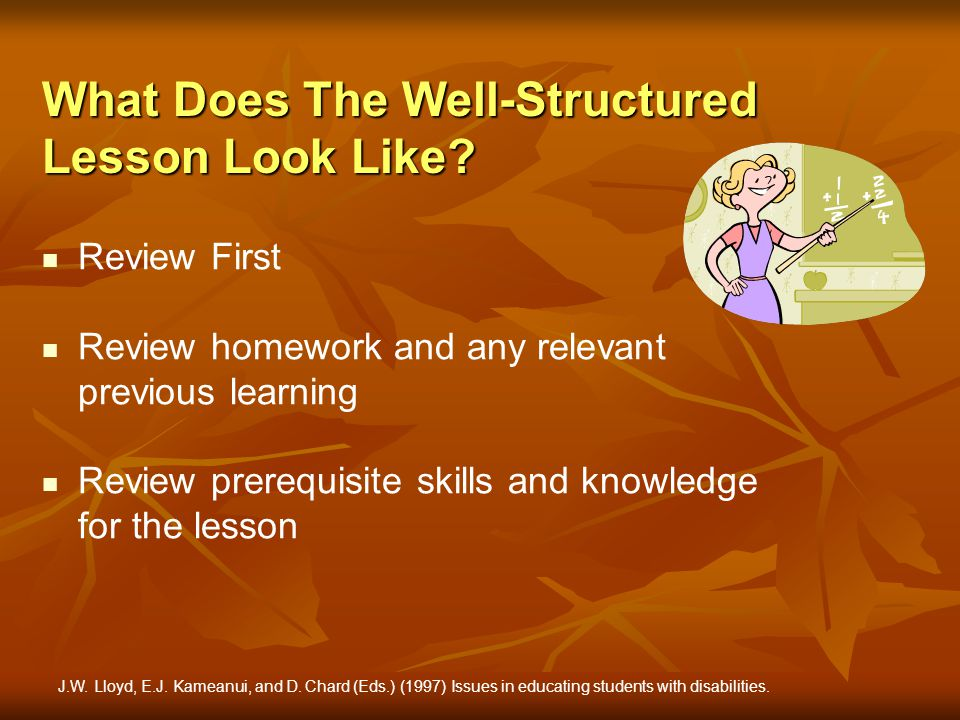 What Does The Well-Structured Lesson Look Like