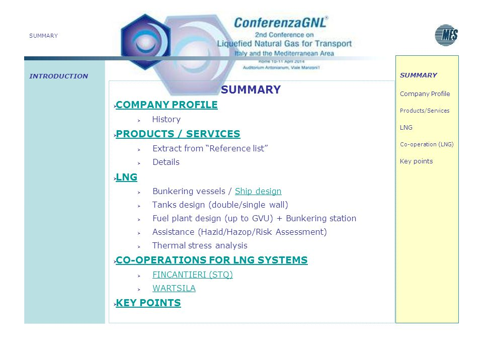 SUMMARY COMPANY PROFILE PRODUCTS / SERVICES LNG