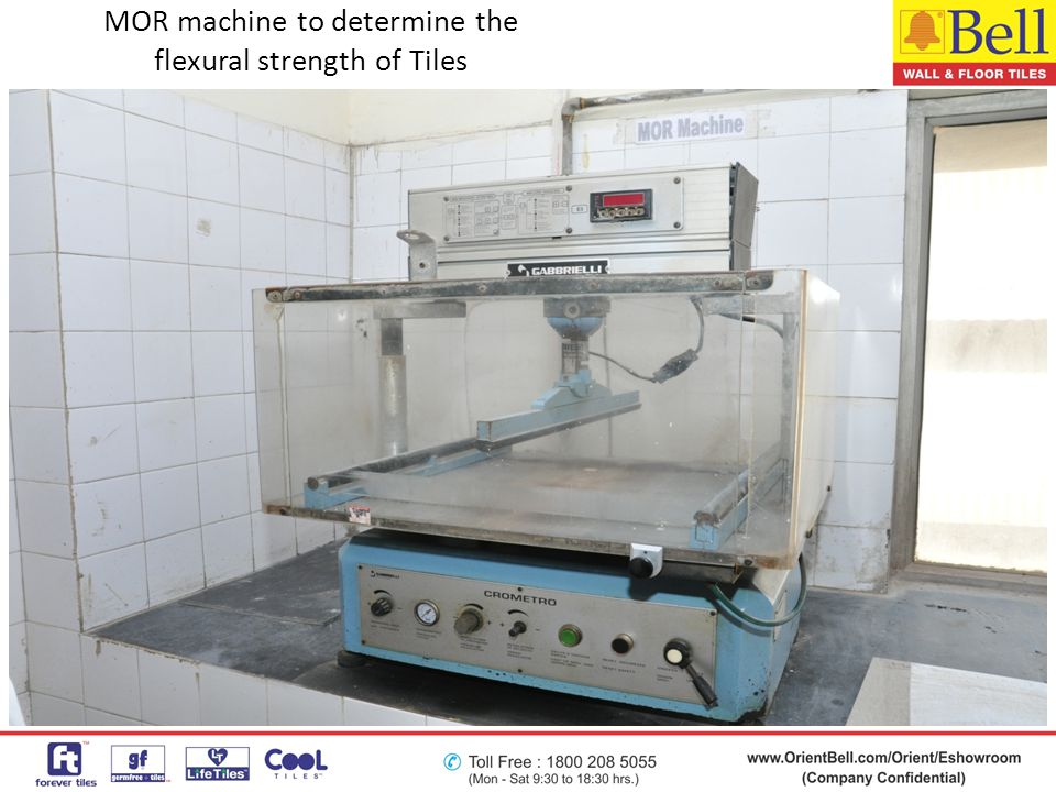 MOR machine to determine the flexural strength of Tiles