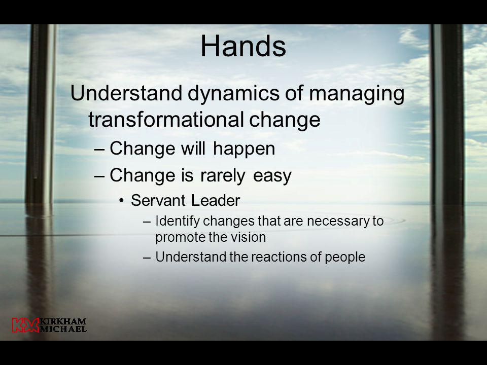 Hands Understand dynamics of managing transformational change