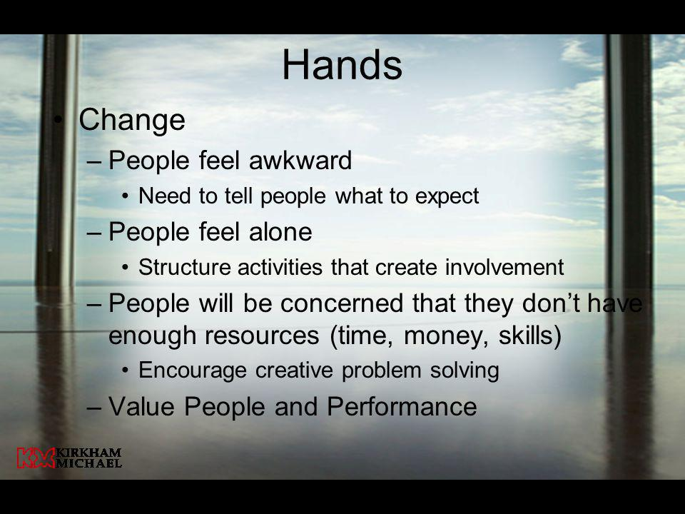 Hands Change People feel awkward People feel alone