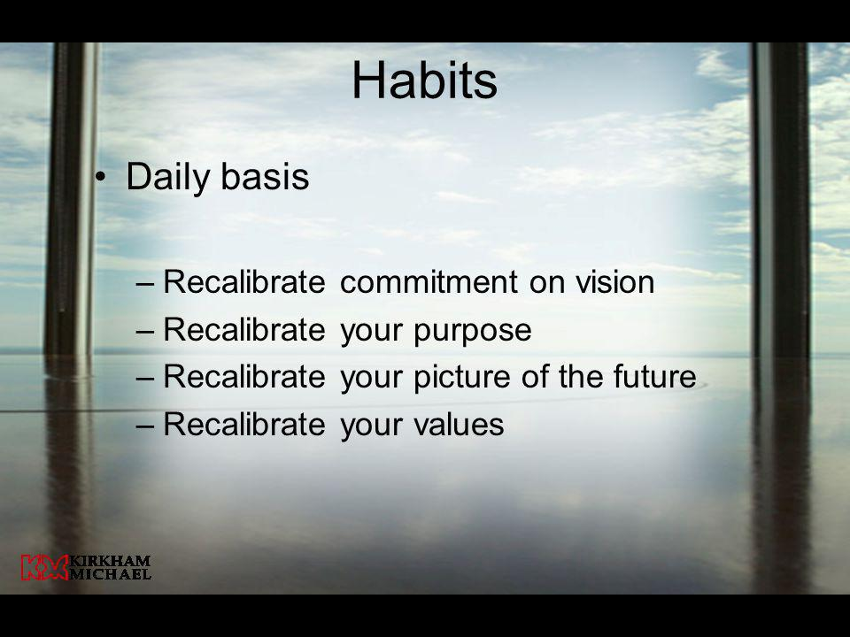 Habits Daily basis Recalibrate commitment on vision