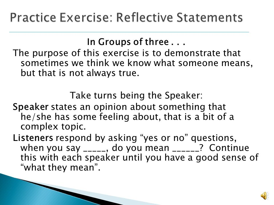Practice Exercise: Reflective Statements