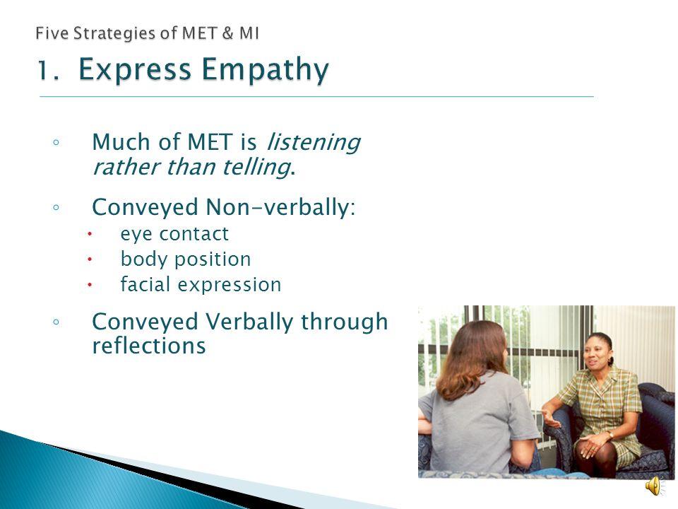 Five Strategies of MET & MI 1. Express Empathy