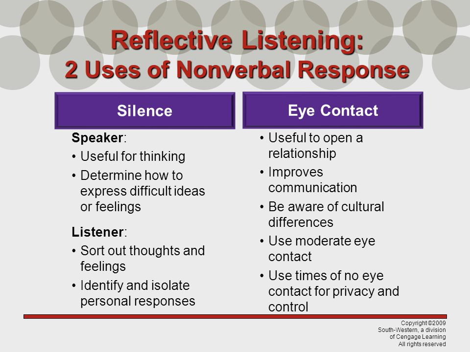 Reflective Listening: 2 Uses of Nonverbal Response