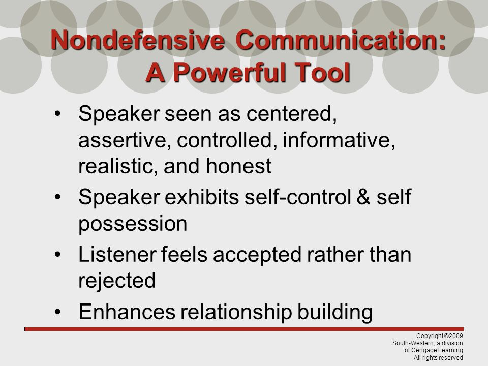 Nondefensive Communication: A Powerful Tool