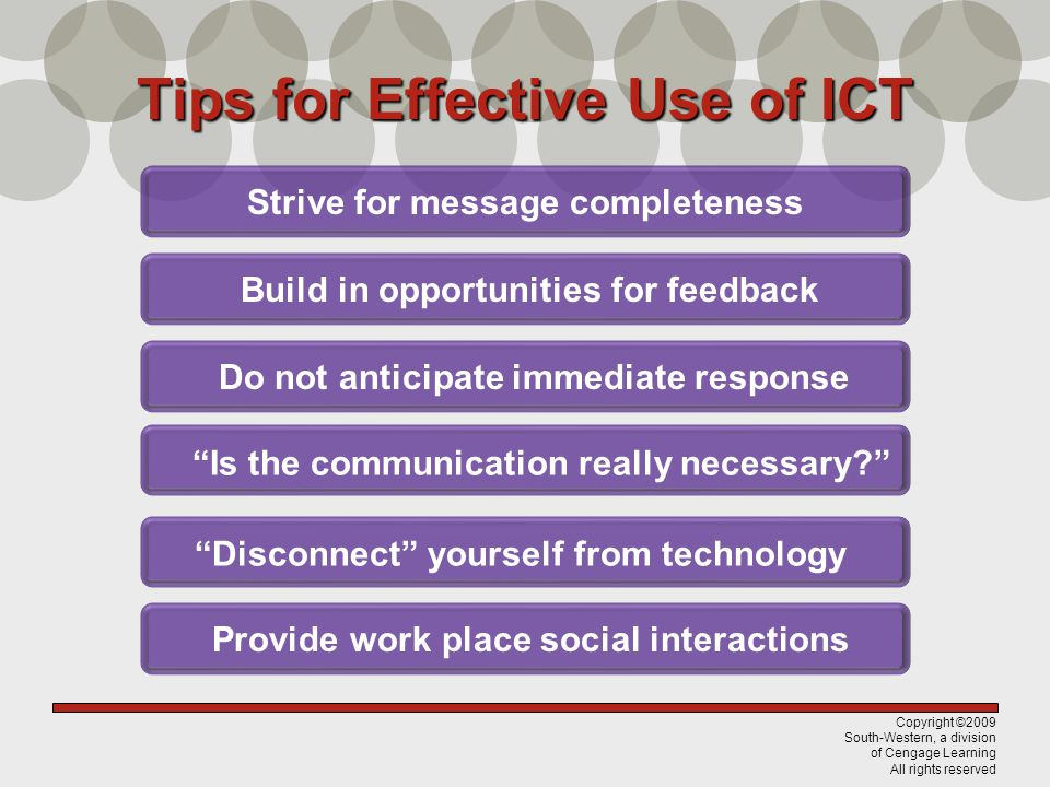 Tips for Effective Use of ICT