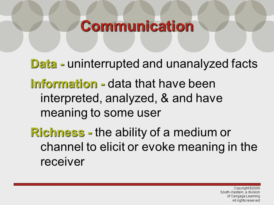 Communication Data - uninterrupted and unanalyzed facts