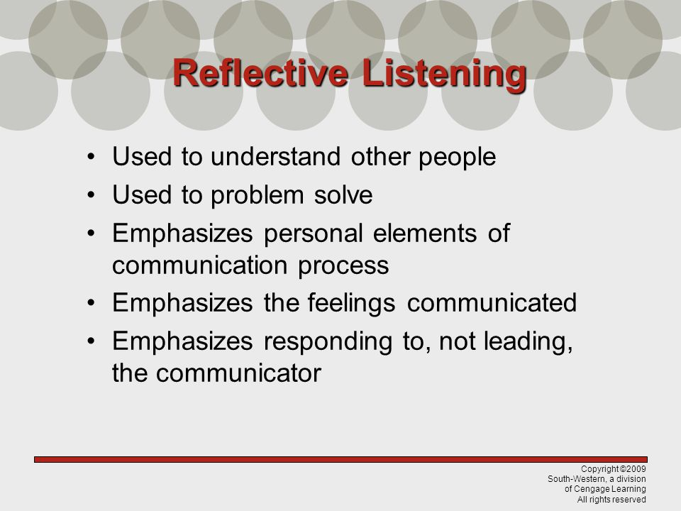 Reflective Listening Used to understand other people