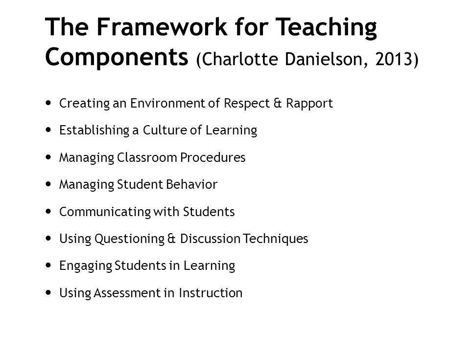 The Framework for Teaching Components (Charlotte Danielson, 2013)