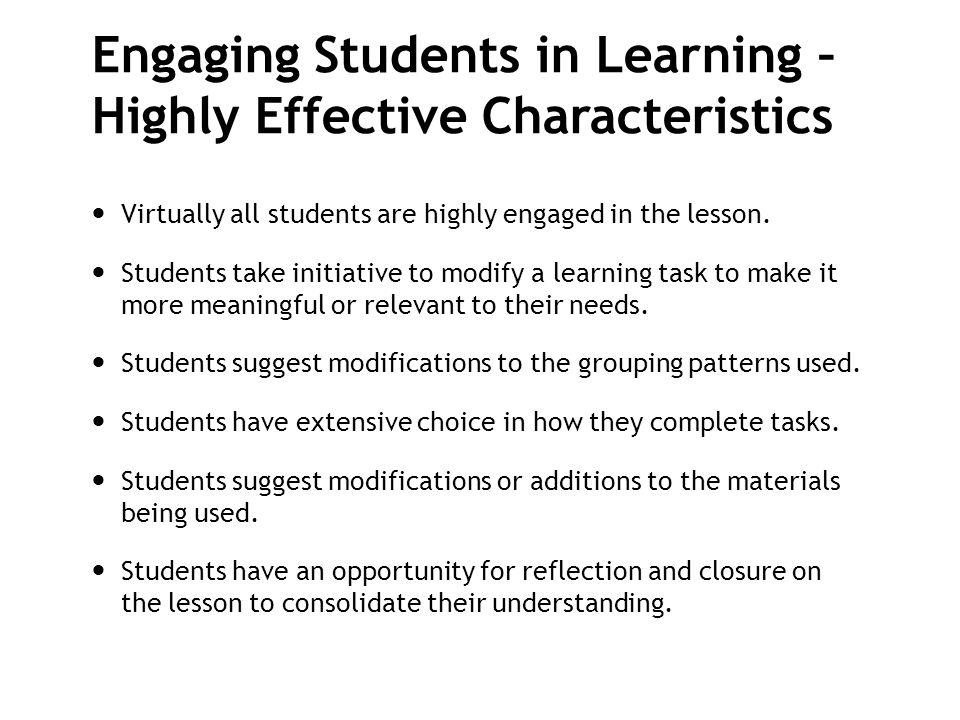 Engaging Students in Learning – Highly Effective Characteristics