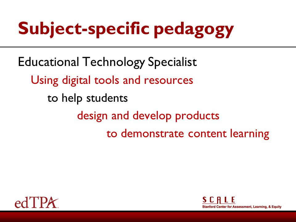 Subject-specific pedagogy