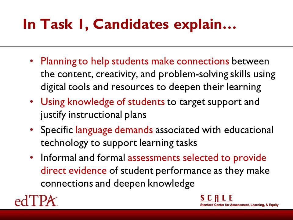 In Task 1, Candidates explain…