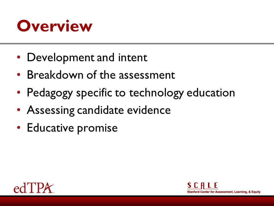 Overview Development and intent Breakdown of the assessment
