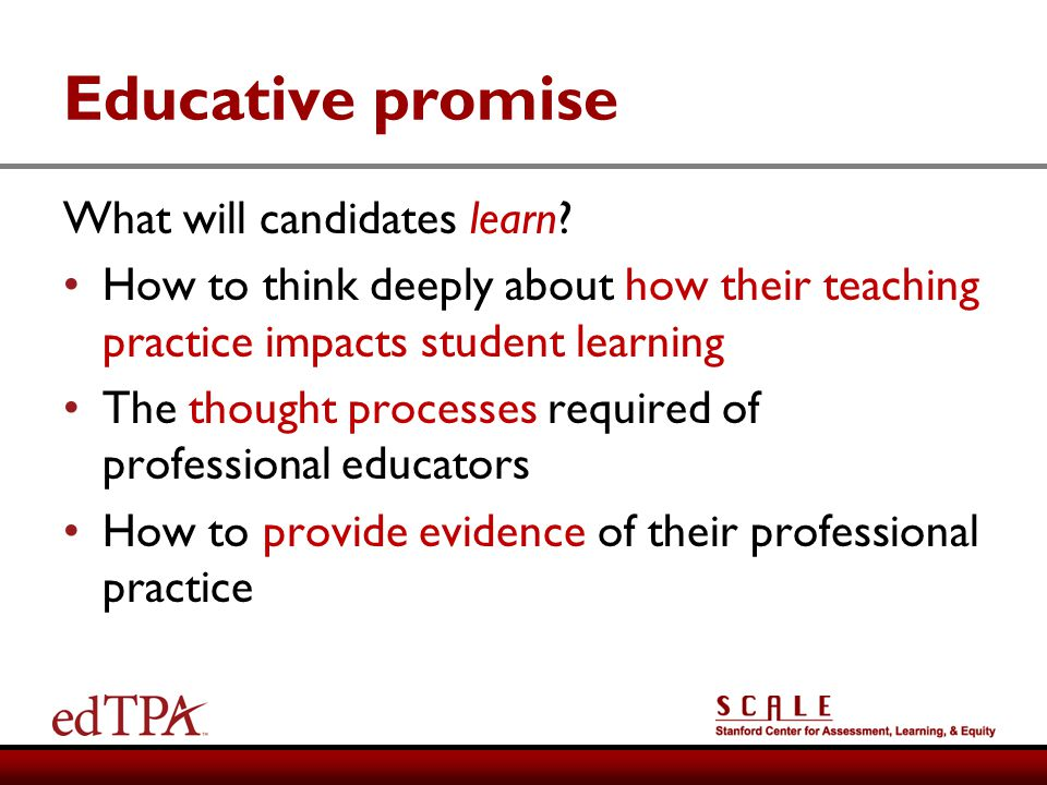 Educative promise What will candidates learn