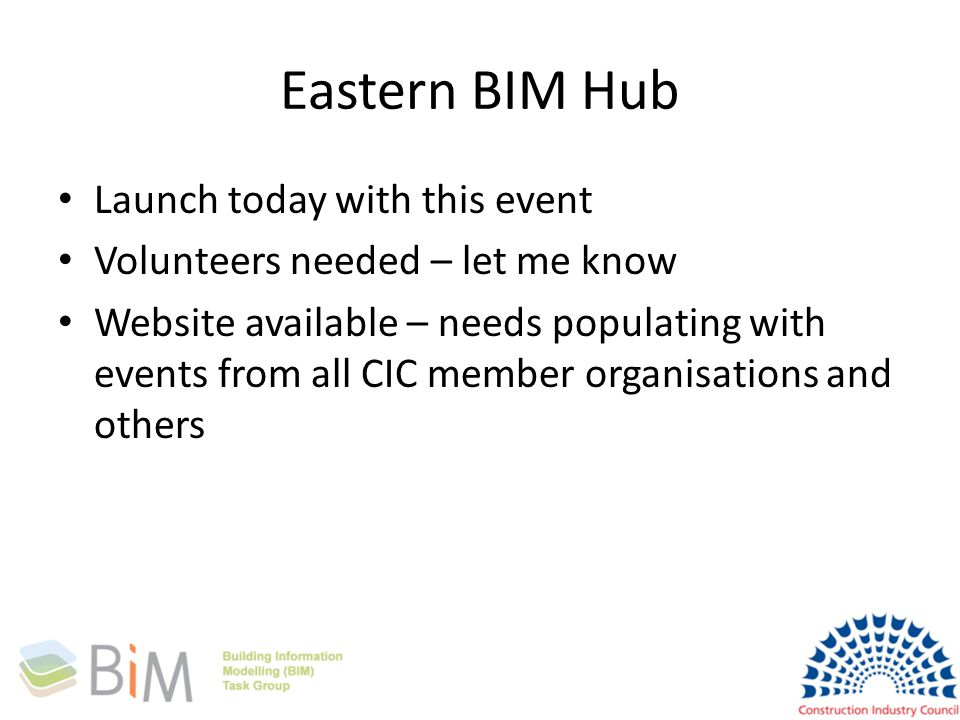 Eastern BIM Hub Launch today with this event