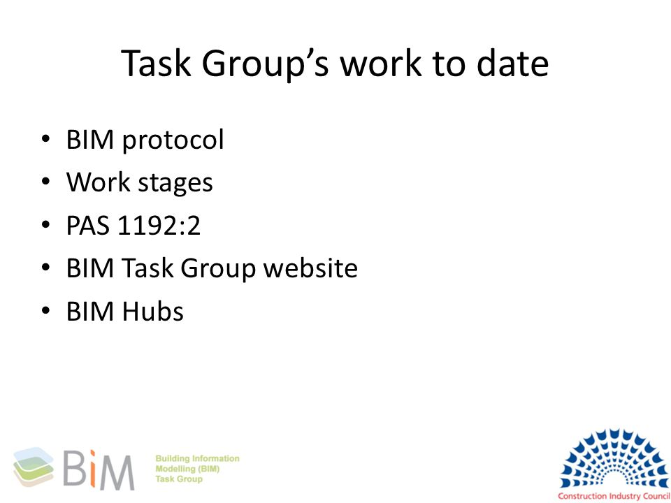 Task Group's work to date