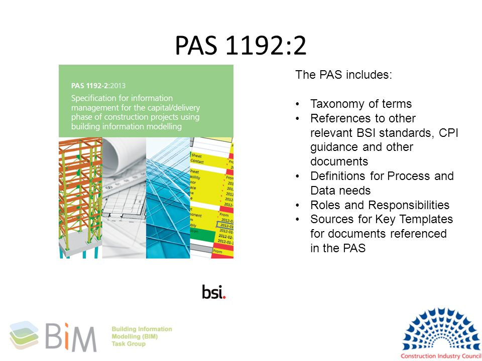 PAS 1192:2 The PAS includes: Taxonomy of terms