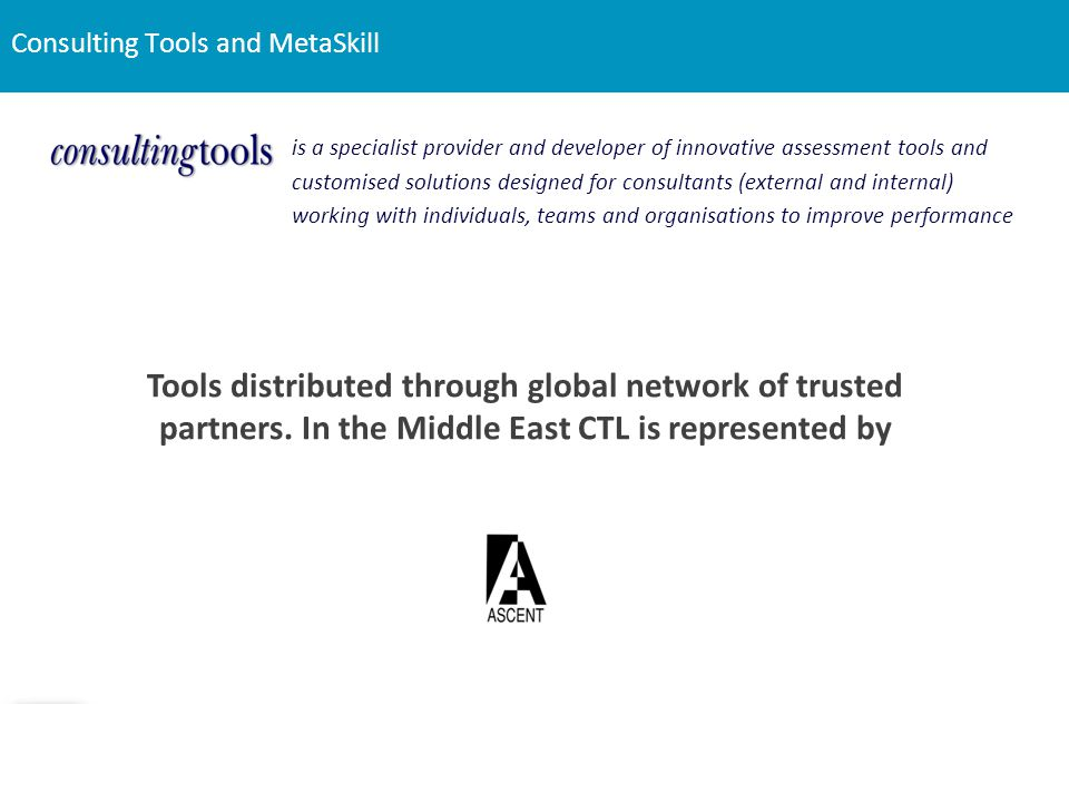 Consulting Tools and MetaSkill