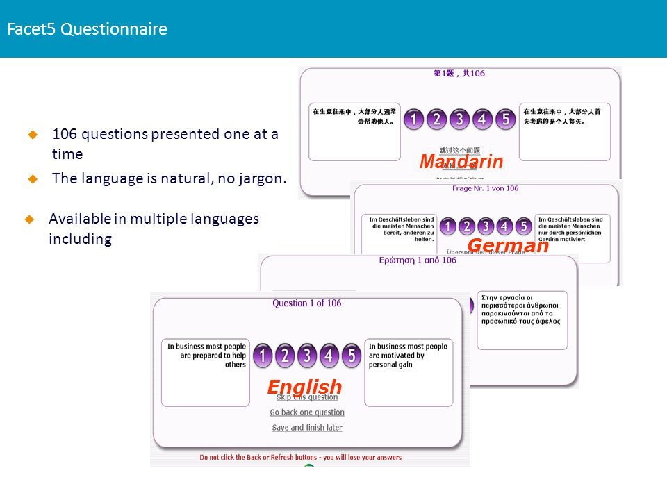 Facet5 Questionnaire Mandarin German Greek English