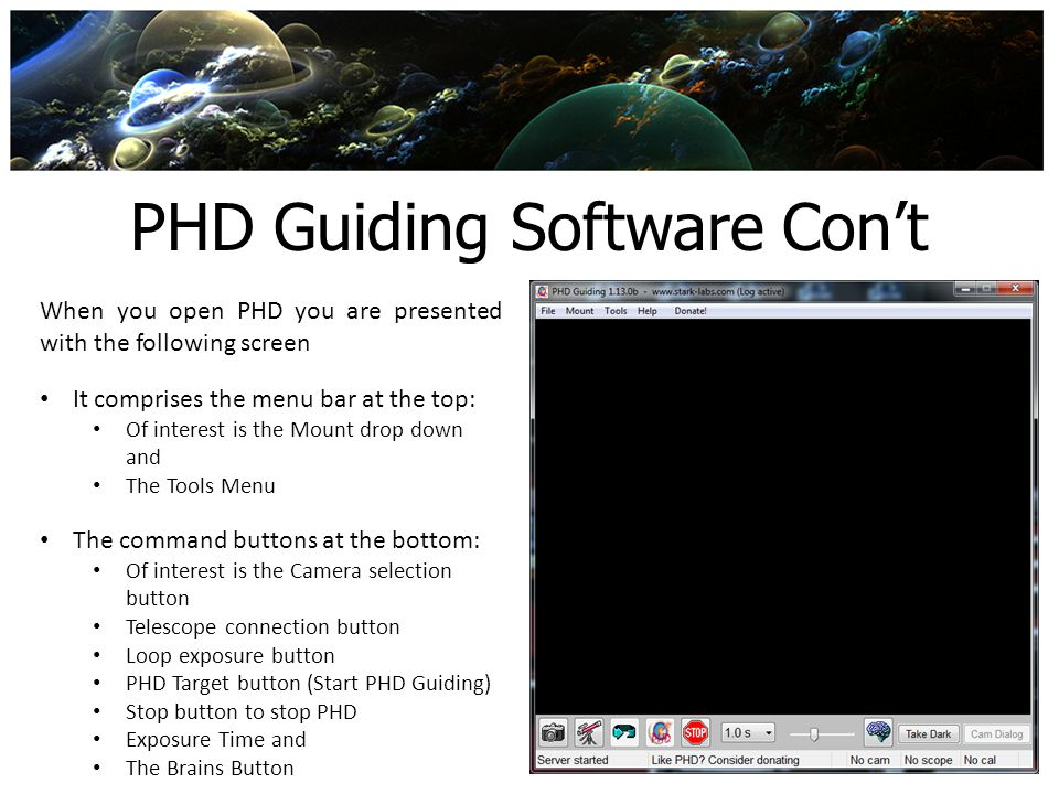 PHD Guiding Software Con't