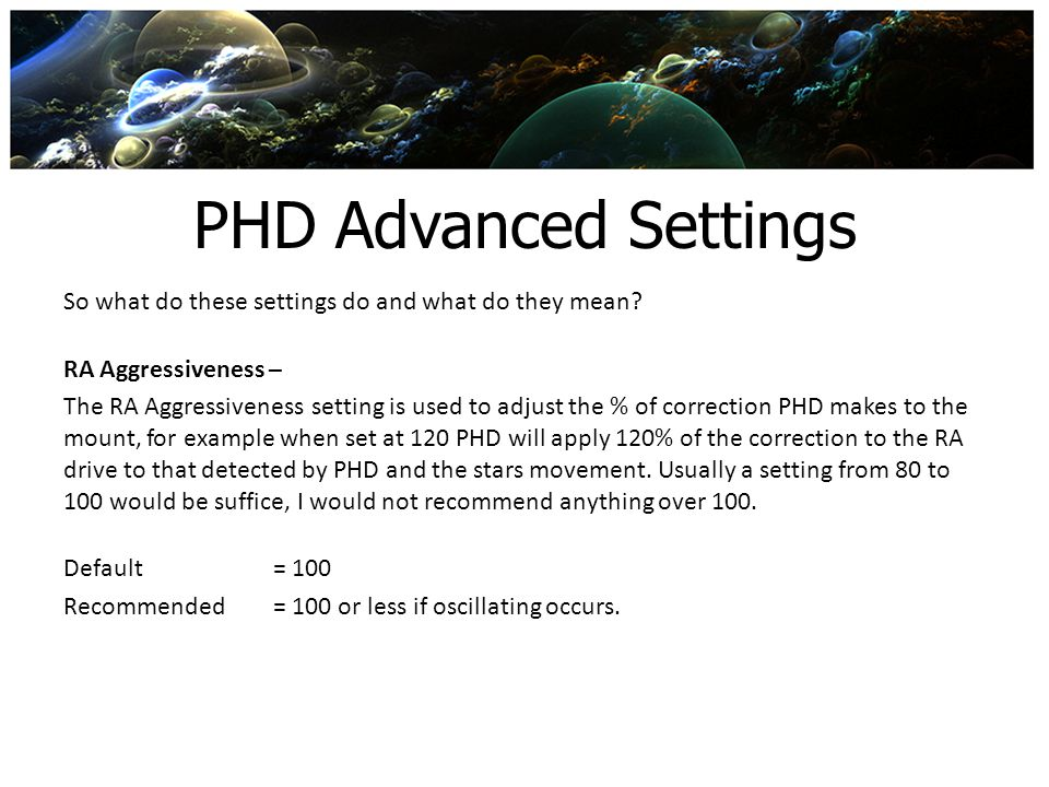PHD Advanced Settings