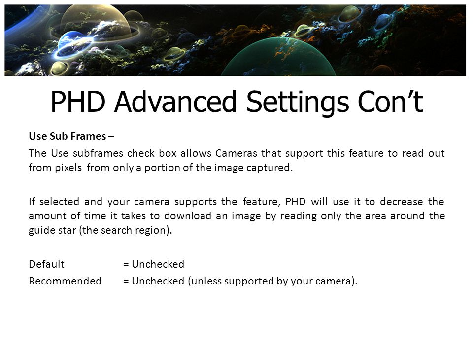 PHD Advanced Settings Con't