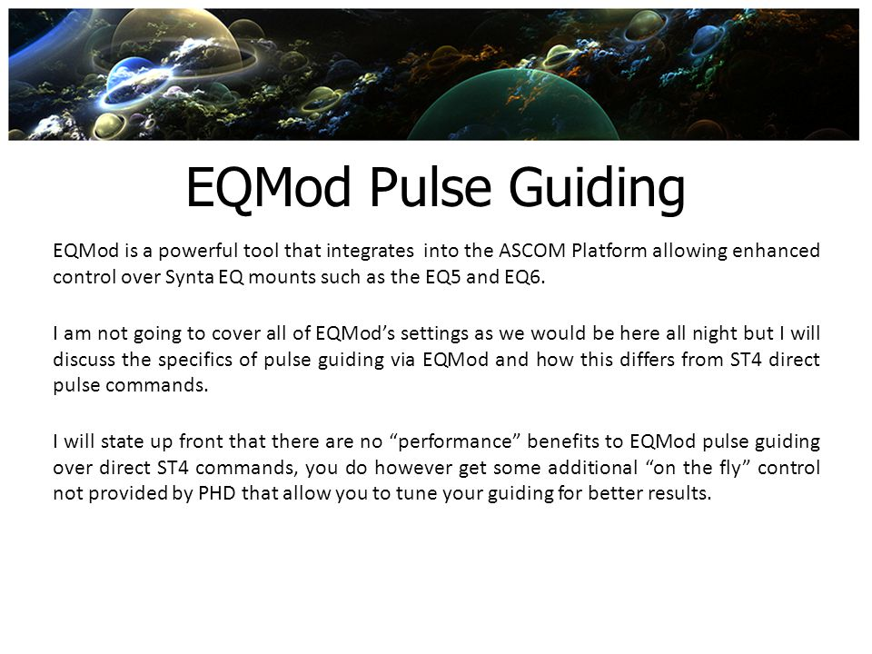 EQMod Pulse Guiding
