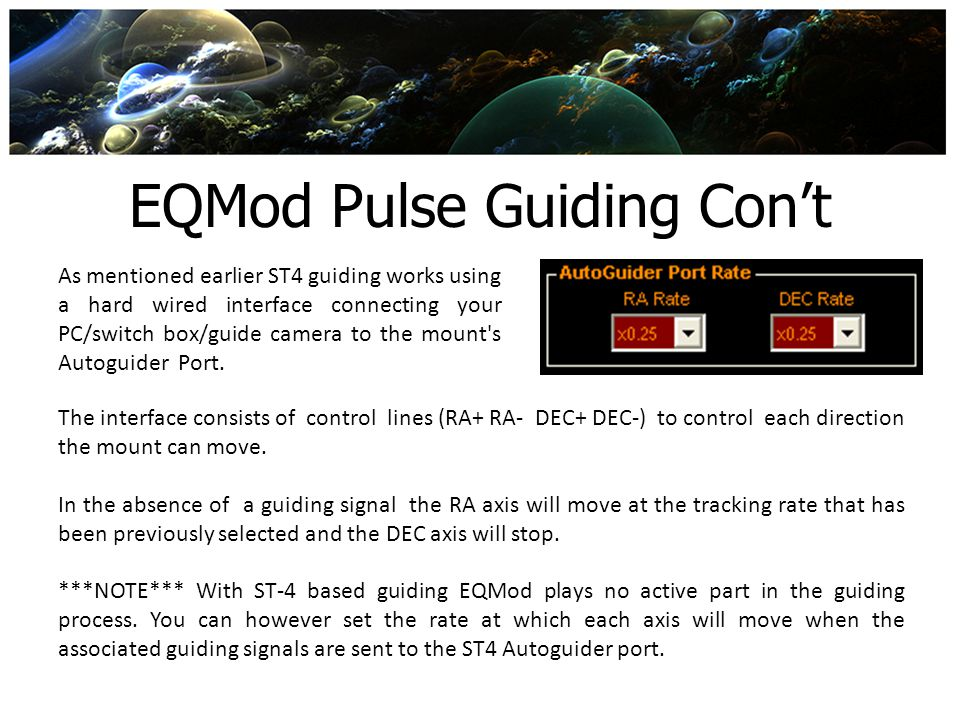 EQMod Pulse Guiding Con't