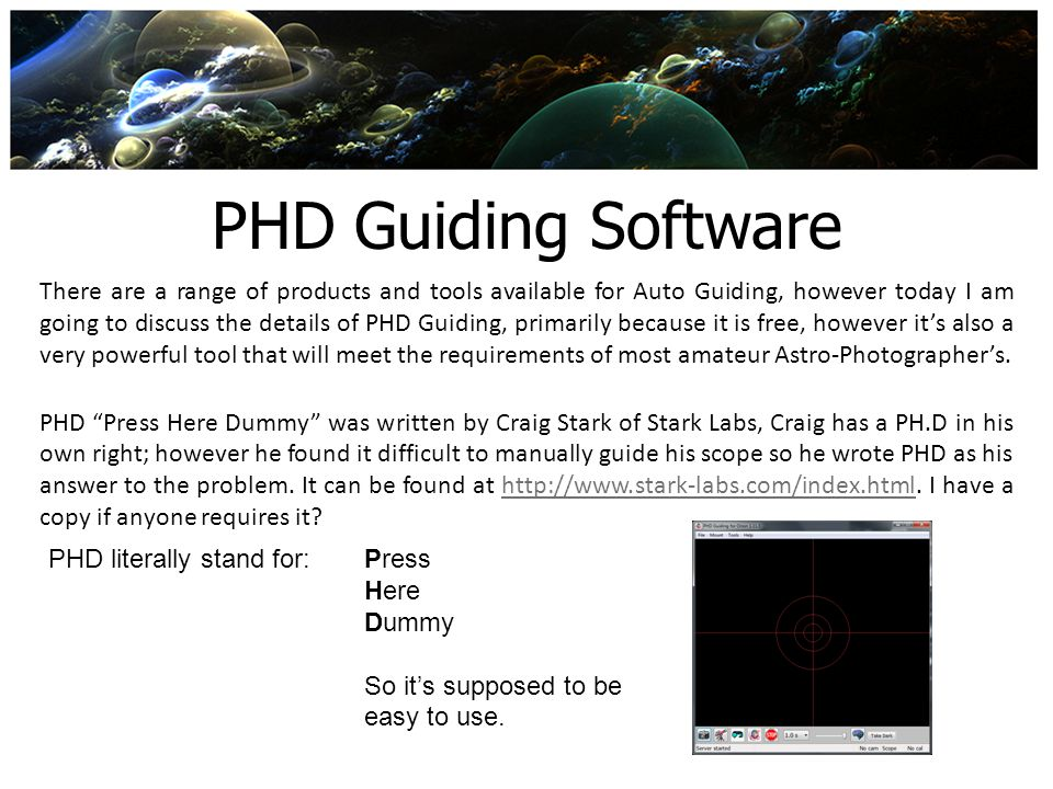 PHD Guiding Software