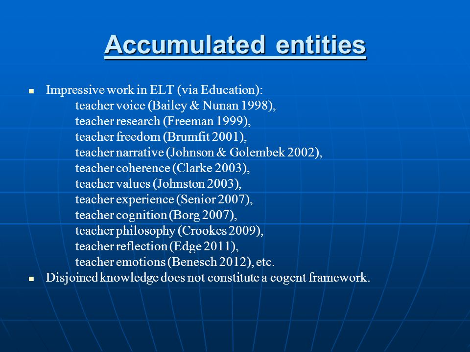 Accumulated entities Impressive work in ELT (via Education):