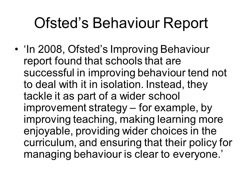 Ofsted's Behaviour Report